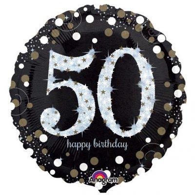 50 jaar folieballon zwart glitter