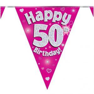 50 jaar vlaggenlijn roze