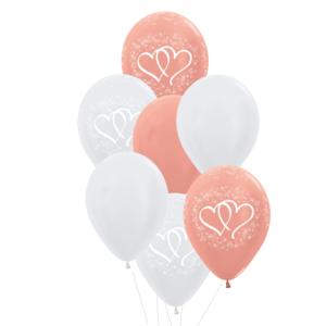 bruiloft heliumballon trosje rose gold wit