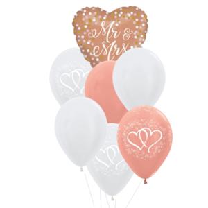 Mr&Mrs heliumballon trosje rose gold wit