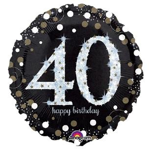 folieballon 40 zwart glitter