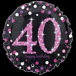 folieballon zwart roze glitter