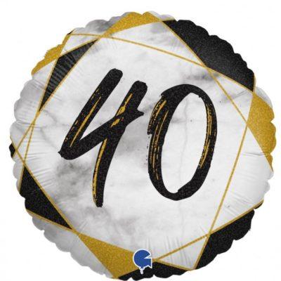 folieballon 40 zwart wit goud